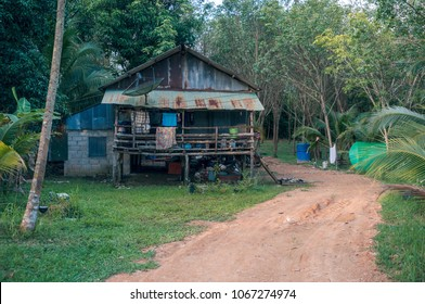 Old hut near the road in the jungle, Krabi province, Thailand