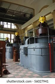 Old hydro power plant machine hall interior