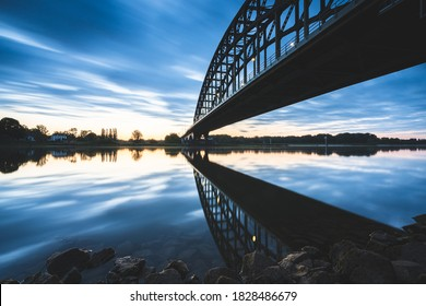 Old 'IJssel brug' near the city of Zwolle in Overijssel, the Netherlands, Architectural feature at sunset