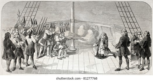Old illustration of admiral John Byng execution by shooting aboard of HMS Monarch. By unidentified author, published on L'Illustration, Journal Universel, Paris, 1857