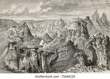 Old illustration of American badlands. Created by Lancelot and Nicolay, after sketch of De Girardin, published on Le Tour du Monde, Paris, 1864