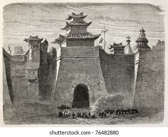 Old illustration of Beijing walls and gate. Created by Lancelot, published on Le Tour du Monde, Paris, 1864.