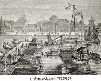 Old illustration of a boat bridge and other crafts in Tianjin. Created by Lebreton after Chinese drawing of unknown author, published on Le Tour du Monde, Paris, 1864