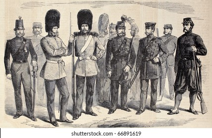 "Old illustration of British riflemen uniforms. Original, from drawing of G. Durand, was published on ""L'Illustration, Journal Universel"", Paris, 1860"