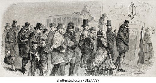 Old illustration of Broadway shopkeepers going to work in the morning. Created by Job, published on L'Illustration, Journal Universel, Paris, 1857