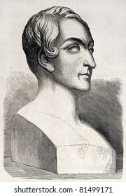 Old illustration of a bust representing Pierre Marie Francois de Salles Baillot. Created by Jeune, published on L'Illustration Journal Universel, Paris, 1857