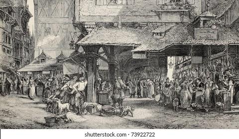 Old illustration of butcher's shop in Frankfurt. Engraved by Joliet after tablet of Noel. Published on L'Illustration, Journal Universel, Paris, 1868
