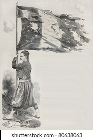 Old illustration of Corporal Lihat, Zuave in the French Army, holding flag for the Malakoff taking during Crimean war. Created by Yvon, published on L'Illustration, Journal Universel, Paris, 1857
