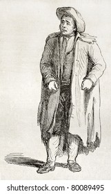 Old illustration of a cunning Irish man. Created by Charlotte Edgeworth, published on Magasin Pittoresque, Paris, 1850