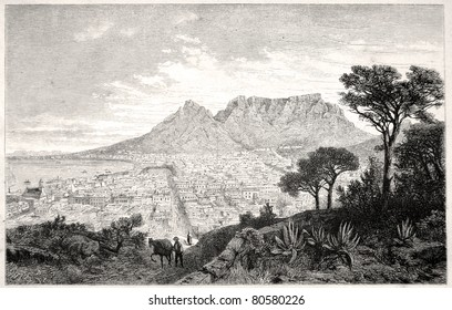 "Old illustration depicting Capetown in South Africa in 1880, drawn by J. Vanione in Emil Holub's ""Seven Years in South Africa"", published in Vienna, 1881"