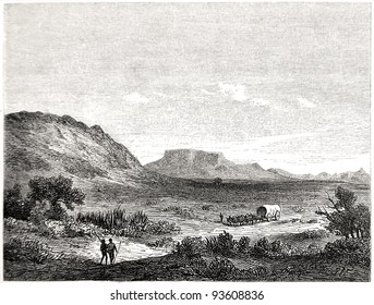 "Old illustration depicting Crakock region in South Africa in 1880, drawn by J. Vanione in Emil Holub's ""Seven Years in South Africa"", published in Vienna, 1881"