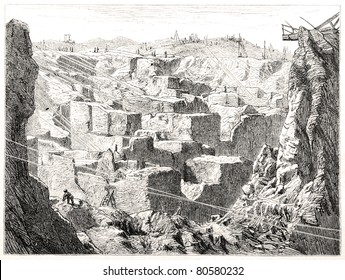 "Old illustration depicting the diamond diggings in Kimberley, South Africa, drawn by unidentified artist in Emil Holub's ""Seven Years in South Africa"", published in Vienna, 1881"