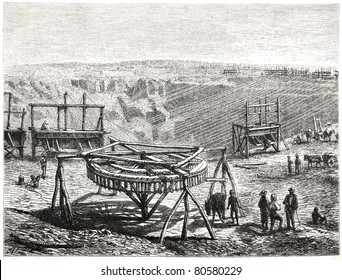 "Old illustration depicting transport equipment in the diamond diggings, South Africa, drawn by J. Vavione in Emil Holub's ""Seven Years in South Africa"", published in Vienna, 1881"