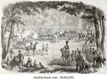 Old illustration of Emperor Napoleon and Empress Eugenie in the Forest of Compiegne. Created by Janet-Lange after sketch of Henry, published on L'Illustration, Journal Universel, Paris, 1857