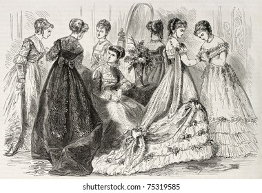 Old illustration of evening and dance wear in 1868, Paris. Created by Pauquet, published on L'Illustration, Journal Universel, Paris, 1868