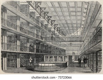 Old illustration of French National Library stocks. Original, created by Fichot, was published on L'Illustration, Journal Universel, Paris, 1868