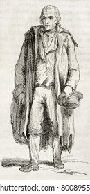 Old illustration of an Irish man. Created by Charlotte Edgeworth, published on Magasin Pittoresque, Paris, 1850