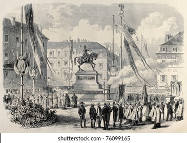 Old illustration of Jeanne D'Arc procession in Place du Martroi, Orleans, France. Created by Janet-Lange and Cosson-Smeeton, published on L'Illustration, Journal Universel, Paris, 1868