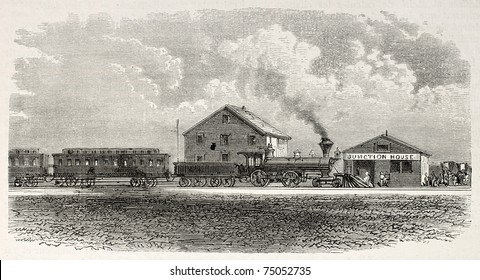 Old illustration of Julesburg railway station, nowadays museum. Created by Blanchard and Cosson-Smeeton, published on L'Illustration, Journal Universel, Paris, 1868