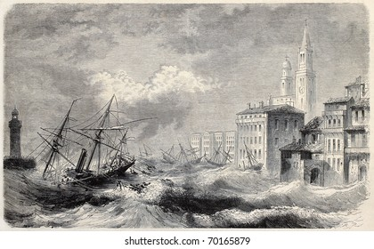 Old illustration of La Louise shipwreck entering Bastia port, Corsica. Original, from drawing of Rouargue, after sketch of Crapelet, was published on L'Illustration, Journal Universel, Paris, 1860