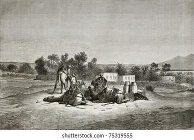 Old illustration of Moses Spring (Oyun Musa), near Suez in Sinai peninsula. Created by Pottin, published on Le Tour du Monde, Paris, 1864