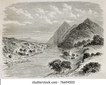 Old illustration of Nile river before confluence of Asua river, near the border between Uganda and Sudan. Created by De Bar, published on Le Tour du Monde, Paris, 1864