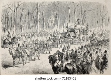 Old illustration of queen of England going to Parliament opening. Original, from drawing of Durand, was published on L'Illustration Journal Universel, Paris, 1860