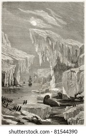 Old illustration of Sir John Franklin North Arctic exploration. Created by Grandsire and Laly, published on Le Tour du Monde, Paris, 1860