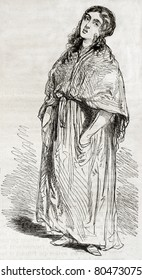 Old illustration of a street singer. Created by Gavarni, published on Magasin Pittoresque, Paris, 1850