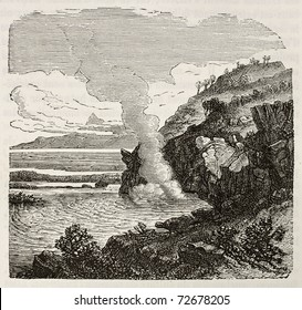 Old illustration of sulfurous water source. Original, from unknown author, was published on L'Eau, by G. Tissandier, Hachette, Paris, 1873.