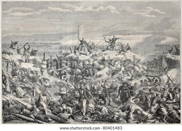 クリミア戦争中にフランス軍がマラコフを奪った古いイラスト。Yvon著 ...