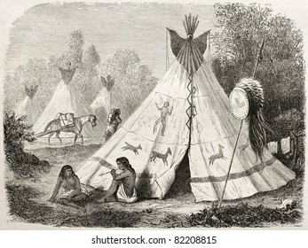 Old illustration of a Tepee in Comanche native American camp. Created by Duveaux after report made under the direction of the U.S. secretary of the war. Published on Le Tour du Monde, Paris, 1860