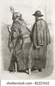 Old illustration of two praying Jews at the Western Wall, Jerusalem. Created by Bida and Gusman, published on Le Tour du Monde, Paris, 1860