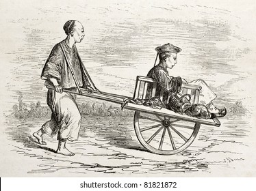 Old illustration of a wheelbarrow for people transport. Created by Dore after Trevise, published on Le Tour du Monde, Paris, 1860
