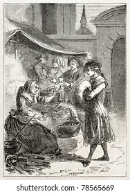Old illustration of a woman selling chestnuts. Created by Godefroy-Durand, published on L'Illustration Journal Universel, Paris, 1857