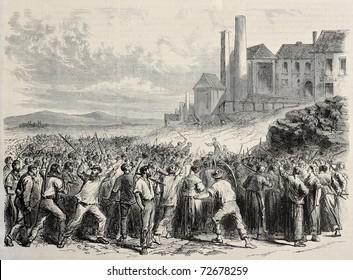 Alte Illustration von Arbeitern Ausschreitungen in Hazard cool mine, nahe Charleroy, Belgien. Original, erstellt von Dubois und Cosson-Smeeton, wurde veröffentlicht auf L'Illustration, Journal Universel, Paris, 1868