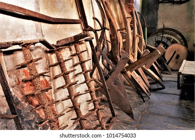 old implements and tools to till and prepare the agricultural field, Galician ethnographic museum, tools of the old trade of blacksmith and carpenter and labrador