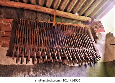 old implements and tools to till and prepare the agricultural field, Galician ethnographic museum,