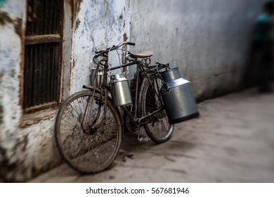 Old Indian bicycle in the street of Varanasi,  India