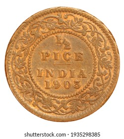 Old Indian Half Pice Coin of 1903 clsoeup