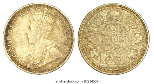 Old Indian One Rupee Coin of 1919