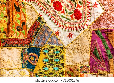 Old Indian patchwork carpet. Rajasthan, India, Azia