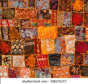 Old Indian patchwork carpet, Rajasthan, India, Azia