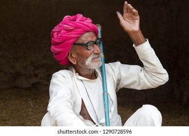 Old Indian rural Man portrait from village of Rajasthan-india,