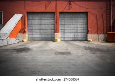 an old industrial building metal garage door