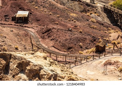 An old industrial railway in Calico ghost town, a wild west mining outpost