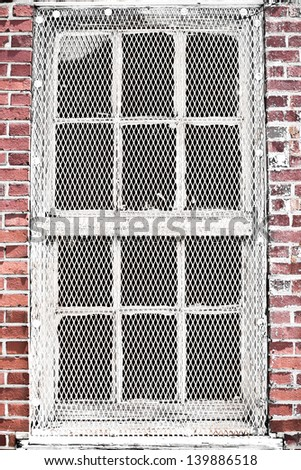 Old Industrial Windows Metal Mesh Protection Stock Photo Edit Now