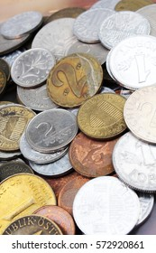 Old invalid coins from europe. History coins texture pattern Vintage Money coins background. Filler Schilling Groschen Pfennig Mark Forint