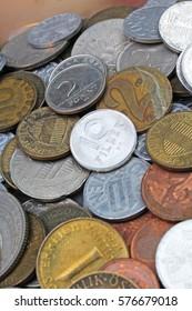 Old invalid coins from europe. History coins texture pattern Money coins background. Filler Schilling Groschen Pfennig Mark Forint