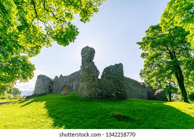 Old Inverlochy Castle in summer at sunset